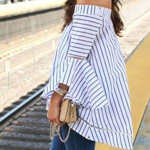 Tops - 3 FOR $50 Off Shoulder Striped Bell Sleeve Blouse